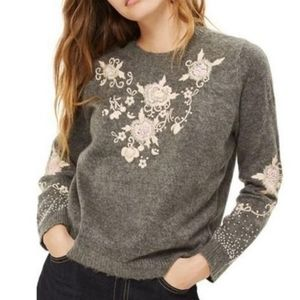 Topshop Gray Pink Floral Beaded Embroidery Sweater